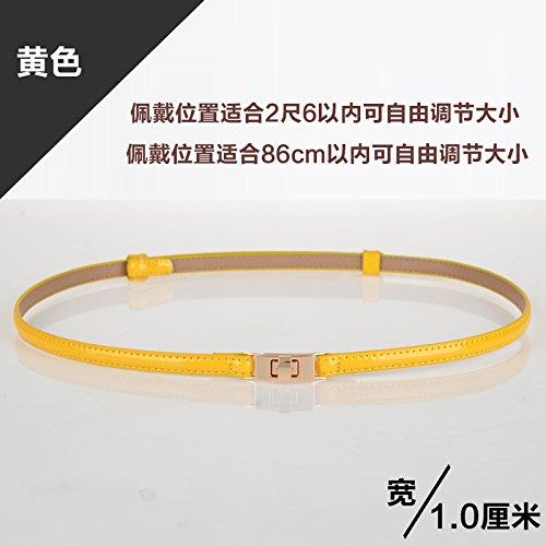 Zhangyong sig ra giro in yi gonna verniciati cintura di pelle bella wild candy colorata vita moderna link ripartizione femmina giallo