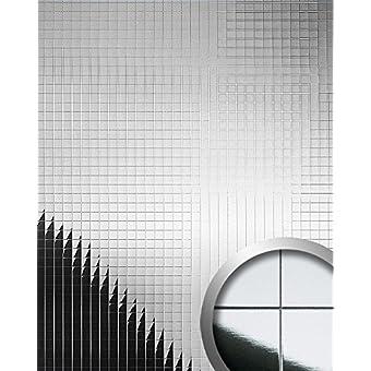 Panel decorativo autoadhesivo flexible mosaico cuadrado WallFace 10644 M-Style con efecto espejo color plata 0,96 m2