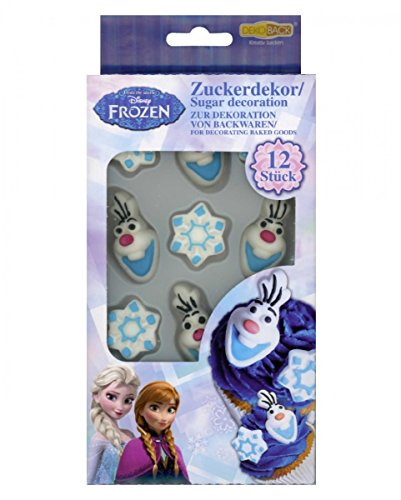 Horror-Shop 12 Disneys Frozen die Eiskönigin Zuckerdekoration Olaf & Schneeflocken