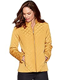 M&Co Ladies Long Sleeve Zip Fastening High Funnel Neck Diamond Quilted Jacket