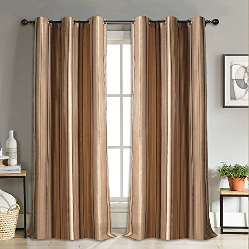 Deco Essential Curtain Thin Stripe New Brown 5 ft (Single Curtain)