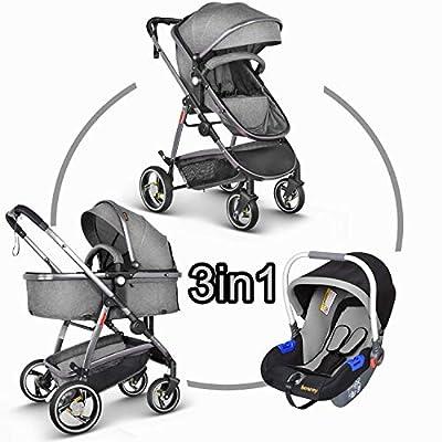 Besrey Pram Pushchair Stroller Baby 3 in 1 Travel System Stroller Baby Can Sleep and Sit + Rain Cover (Grey)
