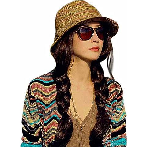 Moda Diseño Sombrero Paja Verano Gorra Raya Para Mujer Playa Aplicable