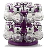 16 Piece Glass Spice Jar Rack Set