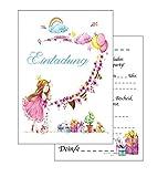 Einladungskarten Kindergeburtstag: rosa Prinzessin Geburtstagseinladungen Einladungen Geburtstag Kinder Mädchen (Mit passenden Umschlägen)