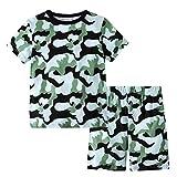 Fenverk Bekleidungssets Unisex Junge Outfit Set Sommer Kleidung Tarnen Drucken Tops Hemd Blusen +Kurze Hose Hosen Jungenkleidung für 12 Monate bis 7 Jahre alt Junge(Grün,2-3 Jahre)