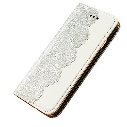 iPhone 8 Lederhülle, Fraelc iPhone 7 Bling Bling Tasche Hülle Glitzer Schutzhülle Flip Case mit Standfunktion & Kredit Kartenfächer Handyhülle +1x Eingabestift Pen für iPhone 7 / iPhone 8 (4,7 Zoll),  Silber