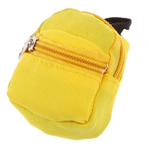MagiDeal Nette Reißverschluss Segeltuch Rucksack Schultasche Beutel für 1/6 Barbie BJD SD Puppen - Gelb