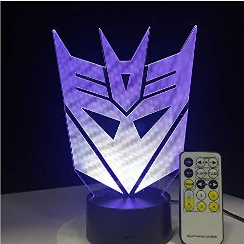 lampe transformatoren maske 3d led nachtlichter atmosphäre tischlampe 7 farben für kinder schlafzimmer fernbedienung ()