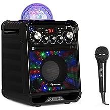 auna Rockstar • Sistema karaoke • Sistema mini-sound • Karaoke • Jellyball-LED • Funzione AVC • Effetto eco • Bluetooth • Ingresso USB • Peso: 3,1 Kg • CD, CD-R e CD-RW • Robusto • Nero