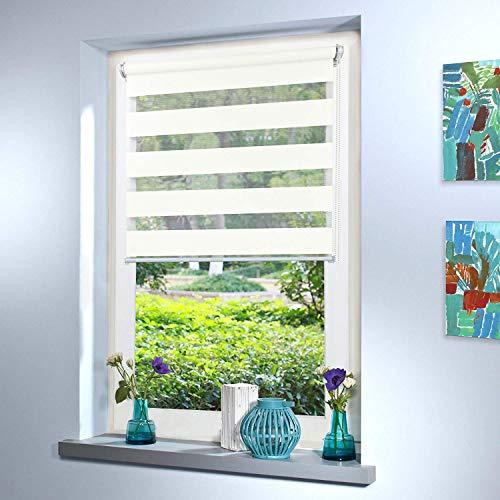 Doppelrollo nach Maß, hochqualitative Wertarbeit, alle Größen und 18 Farben verfügbar, Duo Rollo, Rollo nach Maß, für Fenster und Türen, Klemmfix ohne Bohren (100cm Höhe x 130cm Breite / Weiß)