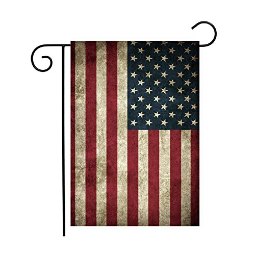 Chic D American Flag Day Retro Garden Flaggen House Decor Mini Yard Banner, 100% Polyester 12 x 18 inch Mehrfarbig