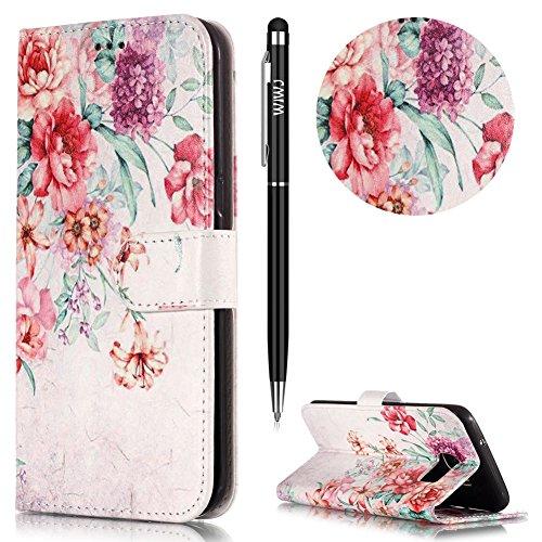 WIWJ Schutz Handyhülle Leder Case für Samsung Galaxy S7 Edge Hülle Lederhülle Flip Wallet Cover [Gemalt Marmor Halterung Funktion Leder Case]-Retro Blumen