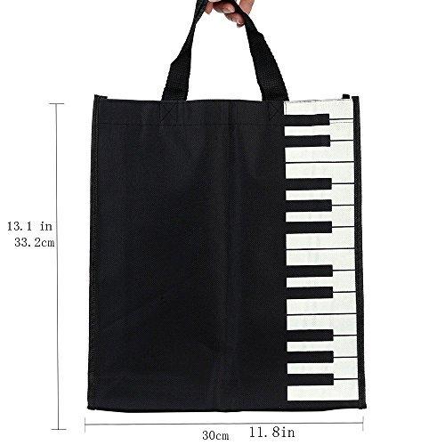 Sound harbor Musik Element Tasche und High Notes Muster Tote Einkaufstasche & Musik Thema Tasche-Reine Baumwolle-Hohe Dichte Thin-Soft Tragbar Black