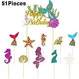 51 Stücke Meerjungfrau Thema Glitzer Cupcake Topper Geburtstag Torte Picks Meerjungfrau Schwanz Kuchen Topper für Geburtstag Baby Dusche Party Lieferungen