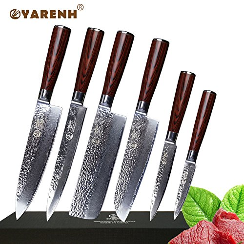 Uniqus YAREH Professional Chef Knife Set 6 PCS Japanese Damascus Steel Kitchen Knife Sets Good Sharp Uility Cleaver Paring Knife Sets