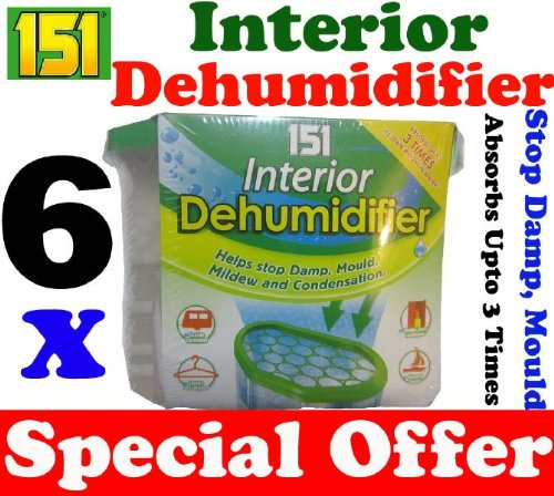 6 x Interior Portable Dehumidifier / De Humidifier Stop Moisture Damp Remover Mould Mildew Condensation Air Freshner Caravan Car Boat Home Office by Unknown