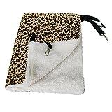 QHGstore Leopard Print Cat Animal Bed Amaca Faux Fur Hanging Cage Consolatore furetto Leopardato L