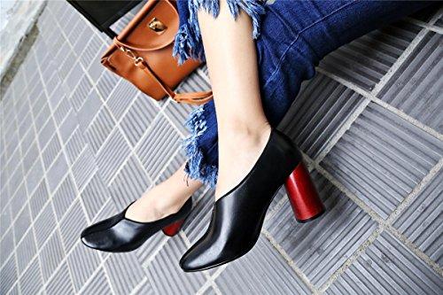 SHIXR Femmes Printemps Pompes Cuir Chaud Basse Chaussures Épais Rond Simple Chaussures Talons Chaussures Court Noir noir