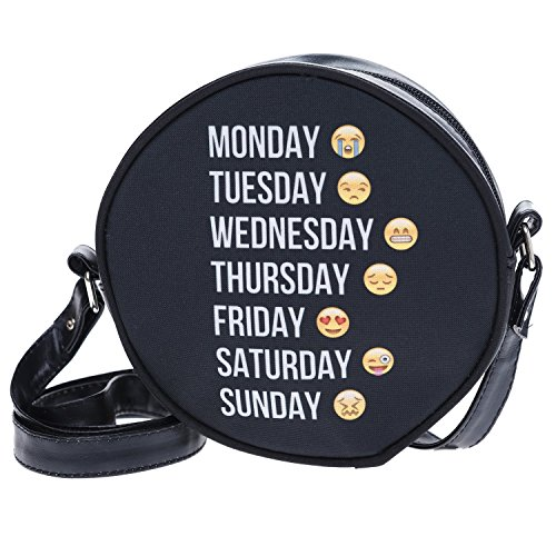Fringoo, Borsa a tracolla donna Multicolore Emoji Week small Emoji Week