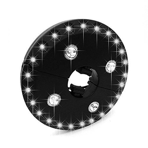 Erwa Umbrella Light Cordless 3 Helligkeitsmodus 24 + 4 LED-Leuchten 4 X AA Batteriebetriebene Umbrella Pole Light Für Terrasse Regenschirme, Camping Zelte Oder Outdoor-Einsatz (Schwarz)