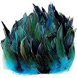 ERGEOB® Echte Hahnenfedern auf 200cm Stoffstreifen in Hellblau - 13 Farbvarianten - Ideal für Fasching, Karneval, Halloween, Basteln, Bekleidung, Kostüme.