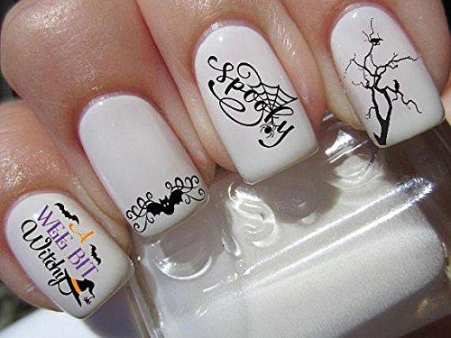 Halloween Nail Art Set X 20Witchy Hexe gruselige Fledermäuse und Bäume Aufkleber Wasser Transfer Abziehbilder Aufkleber Maniküre Set # H6