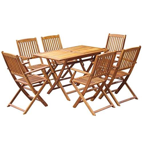 FZYHFA Set de Salle à Manger d'extérieur 7 pièces en Bois Massif d'acacia Design Simple et Pratique, Durable et Stable Set de Table extérieur Table et chaises de Jardin
