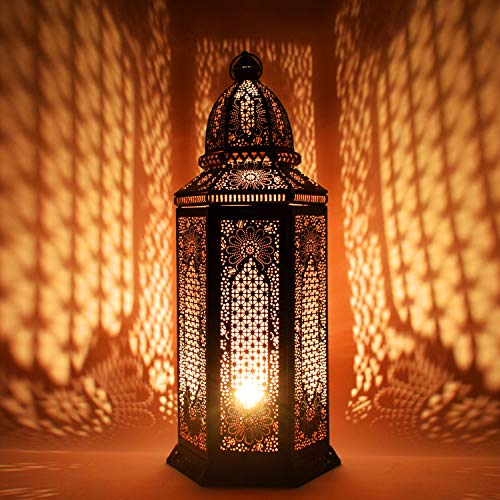 Orientalische Grosse XXL Stehlampe Lampe Yagmur 75cm Schwarz E27 | Marokkanische Tischlampen Gross Metall, Lampenschirm Schwarz | Stehleuchte modern, Leuchte für Vintage, Retro & Landhaus Stil Design