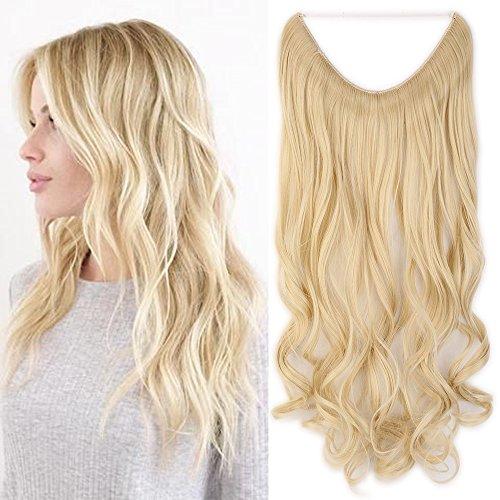 Haarteil Extensions 1 Tresse Haarverlängerung Synthetische Haare Haarverdichtung Gewellt 50cm #613 Blond - Synthetische Haarverlängerungen