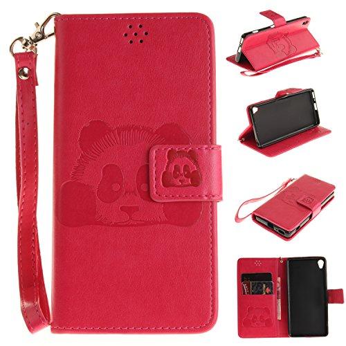 Leather Case Cover Custodia per Asus ZenFone 2 ZE551ML ,Ecoway Caso / copertura / telefono Panda goffratura Disegno retro della del modello PU con a Bookstyle tasche carte di credito funzione con inte Rosa rossa