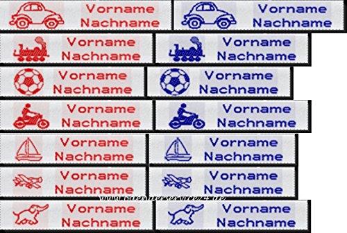 Namensetiketten Etiketten EXPRESS J10 Blockschrift mit Ihrem Namen und Motiv nach Wunsch bestickt zum Einnähen Jungen 50 Stück für EILIGE