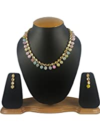 Aradhya Stylish Kundan Necklace Jewellery And Multi Pastel Colour Onyx Stone Beads Necklace Set With Earrings...