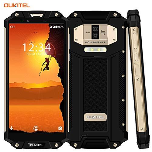 Outdoor Handy 10000mAh, OUKITEL WP2 Dual SIM IP68 Smartphone 6 Zoll Display 4GB RAM 64GB ROM Android 8.0 3 Kameras 16MP+2MP+8MP Wasserdicht Stoßfest Staubdicht Robuste Smartphone Fingerabdruck-Gold