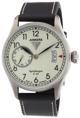Junkers Herren-Armbanduhr XL Spitzbergen F13 Analog Handaufzug Leder 61305