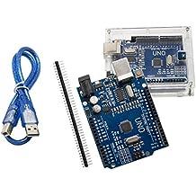 UNO R3 placa base ATmega328P CH340 – ALLEU U6012 con carcasa y cable USB compatible con Arduino UNO R3