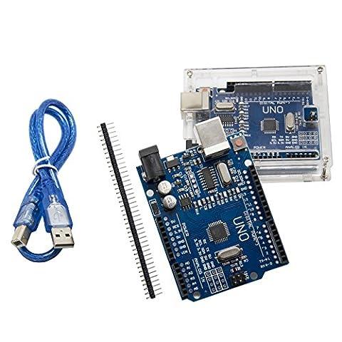 UNO R3 Plus Acrylic Case ATmega328P CH340 - ALLEU U6011 UNO Board with Transparent Acrylic Case and USB Cable Compatible with Arduino UNO