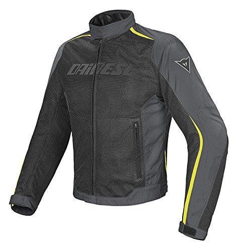Dainese-HYDRA FLUX D-DRY Giacca da moto, Nero/Scuro-Gull-Grigio/Fluo-Giallo, Taglia 56