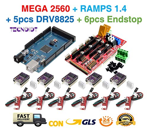 Mega 2560 R3 + RAMPS 1.4 Control Panel + 5pcs DRV8825