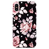 Sasairy iPhone X Mas Hülle Anti-Kratzer Blumen Muster Ultra Dünn Hart PC Case Cover Handyhülle Schutzhülle für iPhone X Mas 6.5 Zoll -Schwarz/Blume