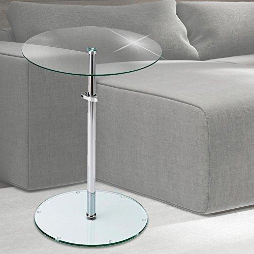 BHP Tisch Klar Glas Platte rund Wohn Zimmer Beistell Ablage Fläche höhenverstellbar B402124