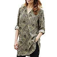 TopsandDresses Ladies Longer Length Paisley Shirt Blouse top in Cinnamon Red or Olive Green in UKPlus Size 24 EU 52 Green
