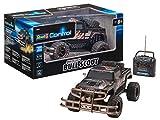 Revell Control RC Car - ferngesteuertes Auto mit 27 MHz Fernsteuerung, stabile Konstruktion, große Räder für gute Geländegängigkeit, LED-Beleuchtung, Batteriebetrieben - Buggy BULL SCOUT 24629