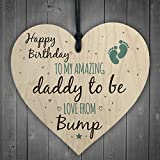 RED OCEAN Daddy To Be From Bump Happy Birthday Wooden Heart Dad Father Humour Funny Card Baby Gift