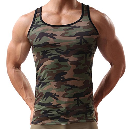 Herren Shirts,Frashing Herren Ärmelloses Camouflage Weste Sportbekleidung Tank Top Sommer Weste T-Shirt (2XL, Tarnung) (Ärmelloses Shorts T-shirt)