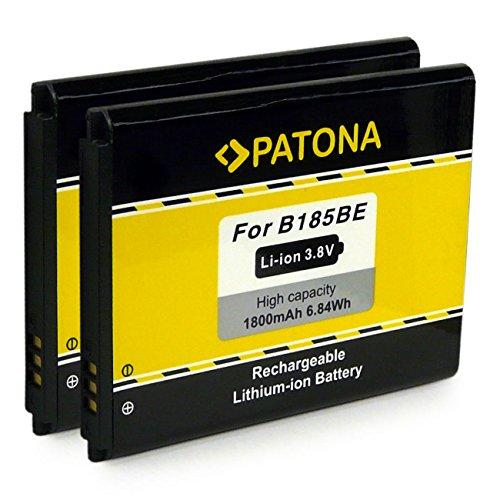 2x PATONA Batterie EB-B185BE per Samsung Galaxy Core | i8260 | Galaxy Core DuoS | i8262 | Galaxy Core Plus | SM-G350 [ Li-Ion, 1800mAh, 3.7 V ]