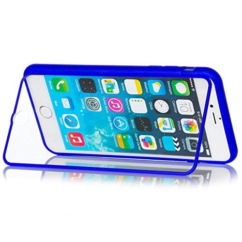 iCues Apple iPhone 6/6S + PLUS (5.5 Zoll) |  Touch TPU Case Klar | Outdoor Dickes Hardcase Stoßfest Militär Lifeproof Männer Jungs 360 Grad Display Full Body Rundum beidseitig Komplett vorne hinten do Solid Blue