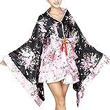 Milya Lolita Kimono Damen japanischen traditionellen formalen tragen Kimono Cosplay Kostüme Damen Kimono Dress mit Blütenkirsche Kostüm Karneval Fasching Halloween Cosplay Theateraufführung Cos