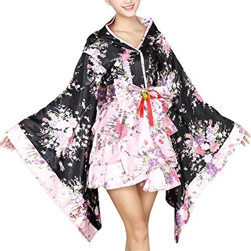Milya Lolita Kimono Damen japanischen traditionellen formalen tragen Kimono Cosplay Kostüme Damen Kimono Dress mit Blütenkirsche Kostüm Karneval Fasching Halloween Cosplay Theateraufführung Cos (Formalen Kleid Abendkleid)