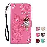E-Panda Huawei Mate 20 Lite Hülle Rose Pink Mandala Eule Muster Glitzer Design PU Leather Wallet Cover Flip klappbar Case Handyhülle Lederhülle Tasche Etui schutzhülle mit Kartenfach